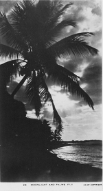 Postcard featuring beach scenery, Fiji, 1940s