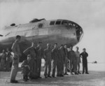 Crew members of the first B-29 bomber to land at Yontan Airfield, Okinawa, Japan, 1945