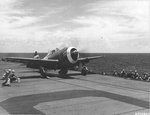 "P-47D Thunderbolt of the 318th Fighter Group being ferried to Saipan on Escort Carrier USS Manila Bay is launched instead to avoid an aerial attack by four D3A Aichi ""Val"" dive bombers, Jun 23 1944. Photo 3 of 3"