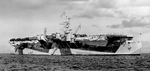 Independence-class carrier USS Monterey at anchor at Eniwetok, Marshall Islands, 6 Sep 1944. Her paint scheme is Measure 33, Design 3d. Photo 2 of 2.