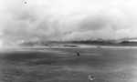 Japanese cruiser Kashii sinking with only the bow showing after being attacked by United States carrier aircraft off the coast of French Indochina (Vietnam) north of Qui Nhon, Jan 12, 1945. Photo 8 of 9