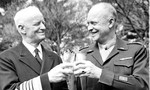 Chief of Naval Operations Chester Nimitz and Chief of Staff Dwight Eisenhower toast each other with mint juleps after receiving honorary degrees as Doctors of Law from the University of Richmond, Virginia, 28 Mar 1946.