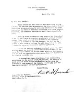 Letter from President Franklin D. Roosevelt to Speaker of the House Sam Rayburn seeking appropriations of 7 billion dollars to fund the Arsenal of Democracy, 12 Mar 1941.