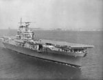 Newly commissioned aircraft carrier USS Hornet (Yorktown-class) in Hampton Roads, Virginia, United States, 27 Oct 1941.