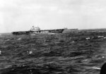 Yorktown-class aircraft carriers Hornet (near) and Enterprise (far) as seen from the cruiser USS Salt Lake City shortly after Hornet launched the Doolittle Raid against Japan, 18 Apr 1942.