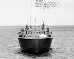 Higgins 78-foot PT Boat photographed 26 Jan 1943 by Higgins Industries in New Orleans, Louisiana before delivery to the US Navy. This boat went on to serve as PT-200 and spent her career as a training boat. Photo 1 of 6