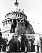 Japanese midget submarine Ha-19, captured in Hawaii following the 7 Dec 1941 Pearl Harbor attack, toured the United States as part of a War Bond drive. It is seen here in front of the US Capitol, Washington DC, mid-1943