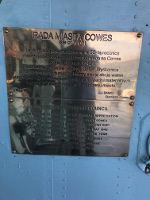 Plaque from the City Council of Cowes, England, United Kingdom, commemorating the defense of the city in 1942, on display aboard ORP Blyskawica, Gdynia, Poland, 15 Jun 2019