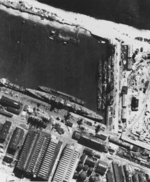 Aerial view of Seydlitz, Z34, Z32, and Z33 in the Westhafen basin of Deschimag shipyard, Bremen, Germany, 8 May 1942