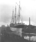 The launching of the Erik Roberts, Rickmer shipyard, Bremerhaven, Germany, 12 Aug 1897