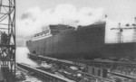 A badly retouched photograph of the St. Louis being launched from Slip IV of Bremer Vulkan shipyard, Germany, 2 Aug 1928