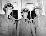 Admiral Ernest King, Chief of Naval Operations; Admiral William Leahy, Chief of Staff to the President; and General George Marshall, Army Chief of Staff at the White House, Washington DC, United States, 28 Jul 1942.