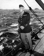 Major General George Patton on the decks of the USS Augusta while crossing the Atlantic en route to the North African landings of Operation Torch, Oct-Nov 1942