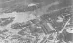 Aerial view of Danziger Werft facilities, date unknown; note two floating drydocks, slips, gasworks containers (far right), and original site of Jan Klawitter Shipyard (peninsula, top right)