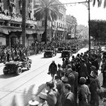 United States Army troops enter Tunis, Tunisia, May 1943.