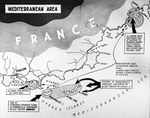 Strategic map of the United States Navy's actions during the landings in Southern France, 15 Aug 1944.