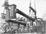 Installation of 14-inch guns, No. 3 turret, Hyuga, 1917-1918