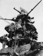 Close-up of damaged rear superstructure of Hyuga, Aug-Oct 1945