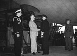 Franklin Roosevelt receiving British First Sea Lord Admiral Sir Dudley Pound aboard the cruiser USS Augusta at the Atlantic Conference, Placentia Bay, Newfoundland, 10 Aug 1941.