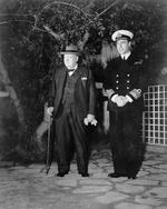 Winston Churchill and Vice Admiral Lord Louis Mountbatten in front of Churchill's residence in Casablanca, Morocco for the Casablanca Conference, Jan 1943.