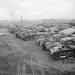 Newly constructed Centaur tanks in a staging area in Slough near London, United Kingdom, before being shipped to field units, Mar 1943