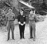 General Sir Miles Dempsey, King George VI of the United Kingdom, and General Bernard Montgomery at Montgomery's headquarters at Château de Cruelly, Normandy, France, 16 Jun 1944.