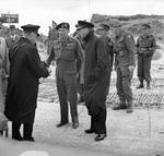 General Bernard Montgomery and King George VI of the United Kingdom as the king came ashore at Graye-sur-Mer, Normandy, France, 16 Jun 1944.