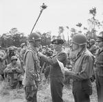 Bernard Montgomery bestowing the British Distinguished Service Order on Maxwell Taylor of the American 101st Airborne Division, Blay, Normandy, France, 7 Jul 1944.