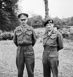 General Miles Dempsey and Field Marshal Bernard Montgomery at Dempsey's 2nd Army headquarters, 16 Jul 1945.