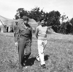 Generals Dwight Eisenhower and Bernard Montgomery at Montgomery's mobile headquarters in Blay, Normandy, France, 28 Aug 1944.