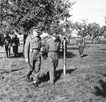 General Neil Ritchie walking with King George VI of the United Kingdom at Ritchie's Twelfth Corps headquarters in the Netherlands, 13 Oct 1944.