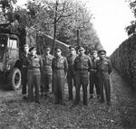 Field Marshal Bernard Montgomery, King George VI of the United Kingdom, and General Miles Dempsey with some of Dempsey's staff in Holland, 13 Oct 1944.