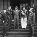 General Omar Bradley, Air Chief Marshal Arthur Tedder, Supreme Allied Commander Dwight Eisenhower, Field Marshal Bernard Montgomery, and General William Simpson at a command conference, 8 Dec 1944.