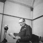 Field Marshal Bernard Montgomery recording his Christmas message to be broadcast in Britain on Christmas Eve, 18 Dec 1944.