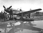 "A-36A Mustang attack aircraft on a muddy airfield in Italy, circa early 1944. Note two ""kill"" markings on the engine cowl."