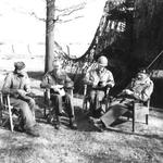 Generals Matthew Ridgway of the 101st Airborne, Miles Dempsey of the 9th Army, William Simpson of the 9th Army, and Bernard Montgomery at Dempsey's headquarters, 25 Mar 1945, planning their crossing of the Rhine.