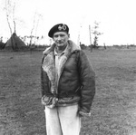 Portrait of Field Marshal Bernard Montgomery in his signature flying coat, 4 Apr 1945.