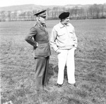 Field Marshal Lord Archibald Wavell, Viceroy of India, and Field Marshal Bernard Montgomery during a visit to Montgomery's headquarters in Germany, 12 Apr 1945.