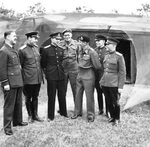 A delegation of high-ranking Soviet officers visiting General Montgomery's headquarters at Blay, Normandy, France, 26 Jul 1944.