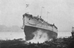 Launching of an unidentified vessel from the old shipyard
