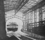 Launching of an unidentified vessel from the new shipyard