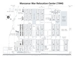 Diagram showing the layout of the Manzanar Relocation Center for deported Japanese-Americans, Inyo County, California, United States, 1944.