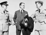 Air Marshal Peter Drummond, Minister of Sate in the Middle East Richard Casey, and Air Marshal Arthur Tedder, Cairo, Egypt, 4 May 1942