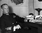 Vice Admiral Frank Jack Fletcher, commander of Task Force 61 in support of the Guadalcanal landings, aboard his flagship USS Saratoga, 17 Sep 1942. Photo 1 of 2.