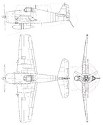Line drawing of the Grumman F6F-5 Hellcat carrier-based fighter.