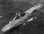 USS Saratoga recovering aircraft off Maui, Hawaii, 2 Mar 1932. The aircraft are a collection of Vought O2U Corsairs, Martin BM-2 torpedo bombers, and Martin T4M torpedo bombers.