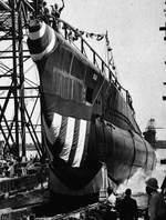Launching of submarine Ling, William Cramp & Sons shipyard, Philadelphia, Pennsylvania, United States, 15 Aug 1943
