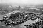 View of Howaldtswerke shipyard, Hamburg, Germany, 1958