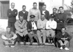 Chan Chak (center, with arm in sling) and others in Huizhou, Guangdong, China, 29 Dec 1941