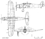 Line drawing of Aichi B7A Ryusei torpedo bomber (Allied code name